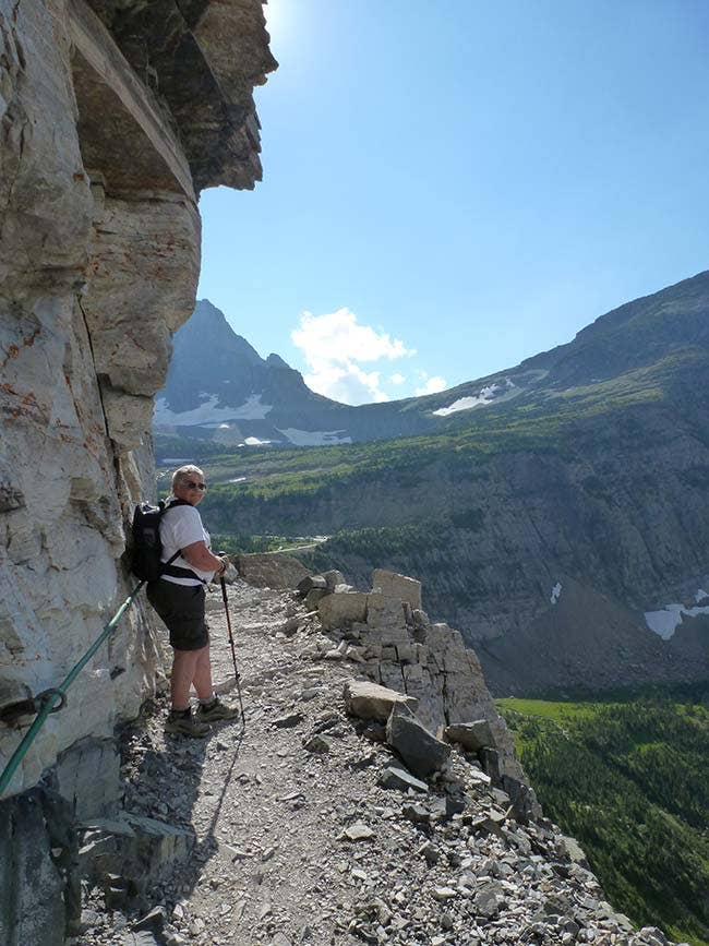 Linda she is using an Inogen One Portable unit while hiking on Hanging Gardens trail in Logan Pass of Glacier National Park located in Montana!