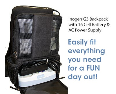 Inogen G3 Backpack with 16 Cell Battery and AC Power Supply