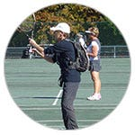 Beverly from Little Rock playing tennis with a Inogen One G3
