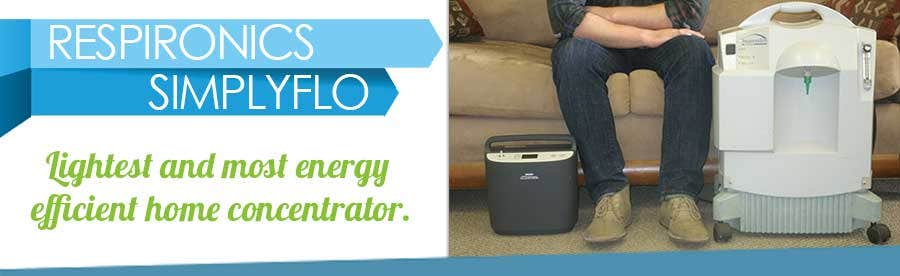 The Respironics SimplyFlo is the lightest, most energy efficient home concentrator in the world.